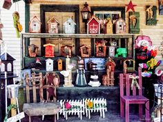 'Americana For Sale' Fine Art Print by Susan Savad - I loved browsing through this shop because of the great variety of hand crafted items, everything from birdhouses to lighthouses. #americana #birdhouses AS LOW AS $37#lighthouses #giftshop #souvenirsNone