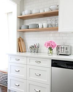 6 Solutions for Your Small-Kitchen Problems  Vertical Shelving  Every kitchen has a secret (the brownies aren't homemade, the chicken fell on the floor) and some underutilized wall space yearning for a shelf. Perhaps yours is that blank wall at the end of your galley kitchen? That unused space between the kitchen window and the ceiling? Go Oprah on it. You get a shelf, and you get a shelf, and you get a shelf!