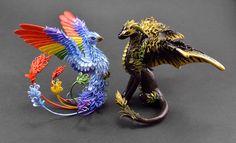 Dragon and Rainbow Phoenix by MyOwnDragon.deviantart.com on @DeviantArt