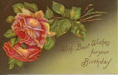 Vintage Pink Roses Postcard With Best Wishes by OldFangledFinds, $5.00