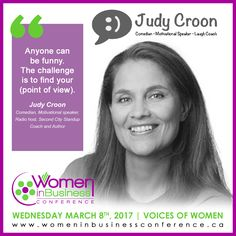 We have the pleasure of welcoming Judy Croon to the stage to cap off WIBC 2017. Judy isn't just a successful and accomplished comedian – she's worked with big names like Jon Stewart, Joan Rivers, Lewis Black and Robert Klein, and her features have appeared on most of the major networks – she's also a motivational speaker and a stand-up coach.  Read more: http://womeninbusinessconference.ca/wibc17-welcomes-judy-croon/  #WIBC17 #BetterTogether #InternationalWomensDay #JudyCroon