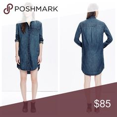 """NWOT Madewell Sunday denim shirtdress NWOT Madewell Sunday denim shirtdress.  Brand new without tags.  Style E6007.  A wear-forever, button-down shirtdress crafted from a special denim with a touch of silk. •Nonwaisted. •Falls 37 5/8"""" from shoulder. •Cotton/silk. •Machine wash.  No trades.  Price is firm. Madewell Dresses"""