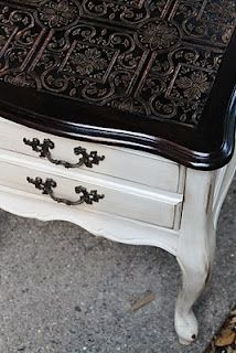 Shabby Chic end table, textured, paintable wallpaper on top., also wanted to show you a new amazing weight loss product sponsored by Pinterest! It worked for me and I didnt even change my diet! I lost like 16 pounds. Here is where I got it from cutsix.com