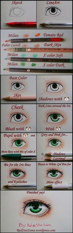 How to Paint Eyes -Tutorial- by RedStar-Sama on DeviantArt en We Heart It.
