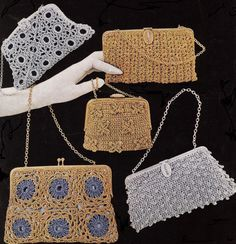 5 Vintage Crochet Holiday Party Evening Bag Patterns