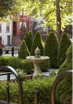 French Garden and Water Fountain or Birdbath
