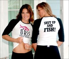 "Womens ""SHUT UP AND FISH!"" Jersey Tee Shirts on ebay for the holidays! Sizes small and medium, great gift under $30! #fishing #gifts"