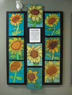 Grade 6 students finally finished their sunflowers last week. This is a fun and relatively easy project that all students can find succ.