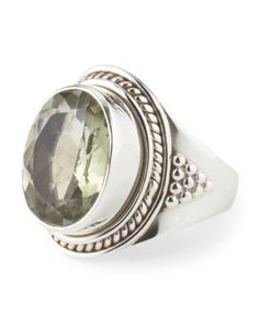Made+In+India+Sterling+Silver+Green+Amethyst+Oval+Ring