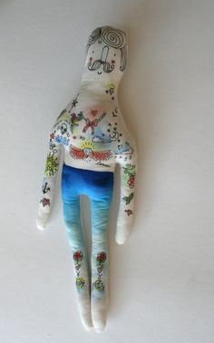 John the Illustrated Man Handmade Art Doll by BlueRaspberryDesigns, $50.00