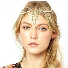 Boho Rhinestone Pearl Beads Gold Head Chain Headband Headpiece Hair Band Hair Jewelry