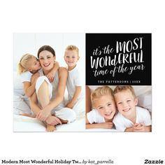 Modern Most Wonderful Holiday Two Photo Card