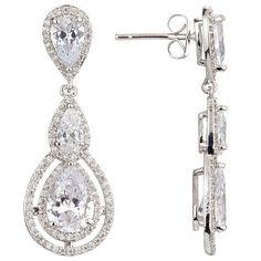 907381dc62b9 Illuminate Triple Teardrop Cubic Zirconia Drop Earrings, Silver Online at  johnlewis