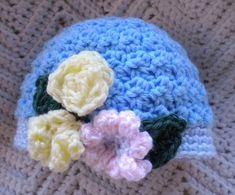 Crocheted Infant Cloche Hat Blue w Pink Yellow Flowers Handmade Baby, Handmade Clothes, Handmade Items, Newborn Crochet, Crochet Baby, Knit Crochet, Pink Yellow, Yellow Flowers, Cloche Hat
