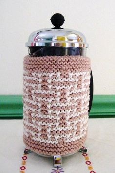 French Press Coffee Cozy Natural and Cream by CozyKitchenKnits, $18.00