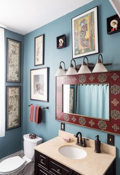 House Tour: A Colorful, Art-Filled New Orleans Home | Apartment Therapy Boho Bathroom, Bathroom Design Small, Bathroom Layout, Modern Bathroom, Master Bathroom, Bathroom Ideas, Lodge Bathroom, Blue Bathrooms, Western Bathrooms