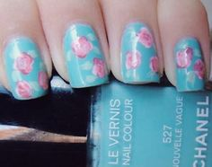 Gorgeous Blue Nails with Pink floral art!
