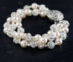 Pearl and Rhinestone Bridal Cuff Bracelet - Swarovski Elements Rhinestones and Crystal Pearls, Pearl Bridal Jewelry
