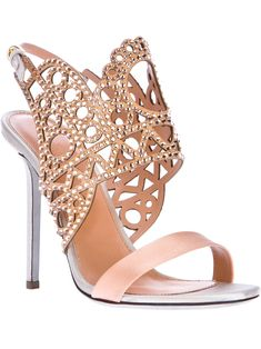 Sergio Rossi Laser Cut Strap High Heel Sandal in Pink - Lyst Sergio Rossi, Stilettos, High Heels, Bridal Shoes, Wedding Shoes, Wedding Dress, Crazy Shoes, Me Too Shoes, Zapatos Shoes