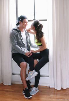his & hers workout / gym style. In love with these custom Nike roshe one sneakers!