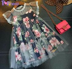 Buy Floral Prints Fly Sleeve Dress online with cheap prices and discover fashion… - Wedding Dresses Frocks For Girls, Kids Frocks, Little Dresses, Little Girl Dresses, Cute Dresses, Girls Dresses, Cheap Dresses, Baby Dresses, Dress Girl