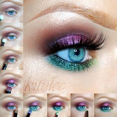 Purple and teal eye makeup #tutorial for blue eyes! NOTE: this #eyemakeup look is great for hooded eyes because of the lighter #eyeshadow on the upper lash line and darker smudged shade on and above the upper eyelid crease line. Darker shade visually brings the bulged eyelid back and the rest of the eye forward. Complete the look with a pair of false eyelashes that are rounded in the middle to give an illusion of a rounder more lifted eye. #BlueEyes #falseeyelashes #purpleeyeshadow #teal