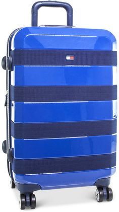 "Tommy Hilfiger Rugby Stripe 20"" Expandable Hardside Spinner Suitcase"