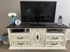 Dresser transformed into tv stand. Painted with Annie Sloan Chalk paint