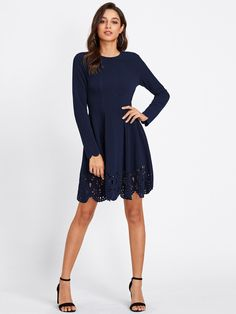Shop Scallop Laser Cut Hem Fit & Flare Dress online. SheIn offers Scallop Laser Cut Hem Fit & Flare Dress & more to fit your fashionable needs.