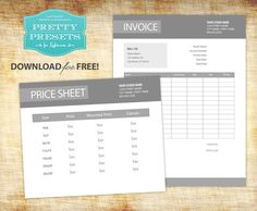 Free Pricing Sheet and Invoice Download for Photographers | Pretty Presets for Lightroom