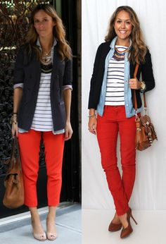 red pants, blue stripes