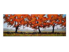 LARGE TREES PAINTING Wall Decal landscape by por GerckenGallery