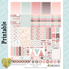 Pastel Aztec printable planner stickers, tribal weekly sticker kit, Printable PDF for Erin Condren Lifeplanner, MAMBI / INSTaNT DOWNLOAD by PlannerDecorator on Etsy