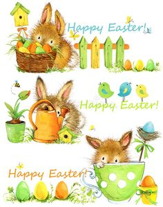 Easter Elements Set Of Banners. Cute Bunny Hand Draw Watercolor Illustration Stock Illustration - Illustration of basket, white: 110063948 Easter Illustration, Watercolor Illustration, Floral Watercolor, Happy Easter, Easter Bunny, Easter Printables, Cute Bunny, Easter Parade, Holidays And Events