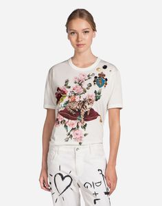 PRINTED COTTON T-SHIRT WITH PATCH AND EMBROIDERY