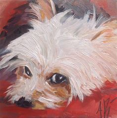 "Maltese art- Daily+Paintworks+-+""Red+dog+bed""+-+Original+Fine+Art+for+Sale+-+©+Annette+Balesteri Animal Paintings, Animal Drawings, Art Drawings, Dog Portraits, Fine Art Gallery, Dog Art, Painting & Drawing, Watercolor Art, Cute Dogs"