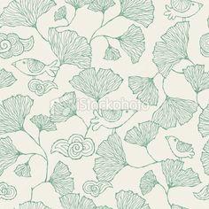Seamless Ginko Leaf pattern Royalty Free Stock Vector Art Illustration