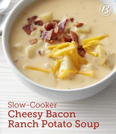 Chicken broth, bacon, Yukon potatoes, ranch seasoning and lots of cheese come together in the slow cooker for a knockout comfort food soup that we can't get enough of. Expert tip: We recommend using Yukon Gold potatoes in this soup, because their texture holds up better than russet or baking potatoes in the slow cooker.