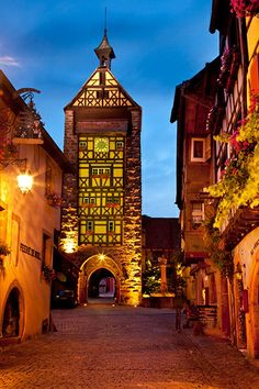 Entry gate tower to village of Riquewihr, France