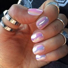 pastel hologram nails