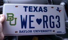 #Baylor loves #RG3! The license plate belongs to the husband of Baylor professor Rochelle Brunson. #SicEm #RGIII
