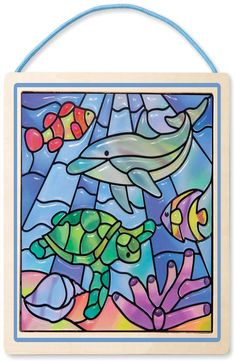 Melissa & Doug 18582 Stained Glass Made Easy Activity Kit, Ocean Arts and Crafts, Develops Problem Solving Skills, Stickers, Multicolor Stained Glass Cookies, Stained Glass Light, Stained Glass Windows, Window Glass, Gato Gif, Stickers, Kit, Make It Simple, Glass Art