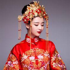紅纓中式複古花卉鳳冠