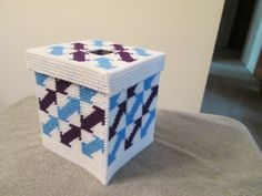 Tissue Box with Top Cover in Plastic Canvas by CraftsforSalebyJune on Etsy