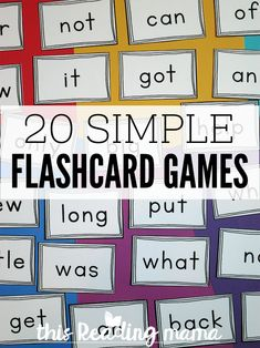 20 Simple Flashcard Games - This Reading Mama Flashcard Games, Phonics Games, Games For Fun, Class Games, Reading Boards, Reading Games, Guided Reading, Printable Board Games, Sight Word Flashcards