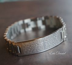 Lord S Prayer Our Father Stainless Steel Men Bracelet Cross Religious Jewelry