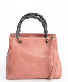 Gucci pink lotus leather wooden accent convertible top handle bag