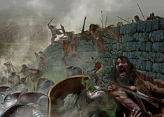 Pictish tribes attack The Romans manning Hadrian's wall in Scotland - Luca Tarlazzi illustratore