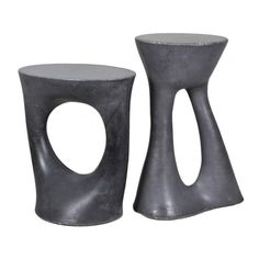 Pair of Charcoal Kreten Side Tables, Black Modern Concrete End Tables | From a unique collection of antique and modern side tables at https://www.1stdibs.com/furniture/tables/side-tables/