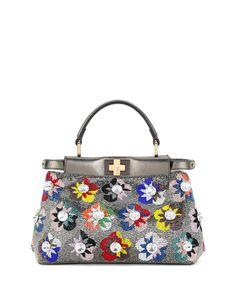 bbe011a64e00 Fendi Peekaboo Mini Floral Beaded Satchel Bag